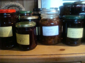 Jam from fruit colleted in the hedgerow and courgette chutney from veg box leftovers