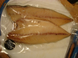 locally smoked mackerel from Llandudno smokery, much lighter in colour, delicate in taste ans softer fleshed than supermarket mackerel
