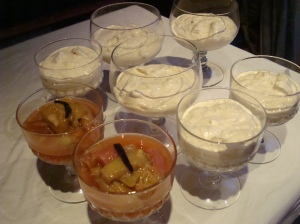 rhubarb and Cointreau compote and Cranachan's