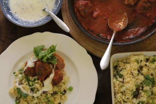 A family feast ...Moroccan lamb and spinach balls, couscous and minty yogurt