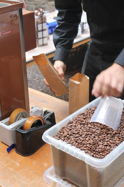 the cool coffee beans being packaged for us to take home