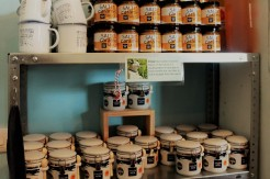 Distinctive Halen Mon jars for sale in their shop and their incredibly moreish salted caramel sauce